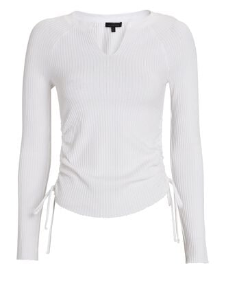 Gathered Waffle Knit Top, WHITE, hi-res