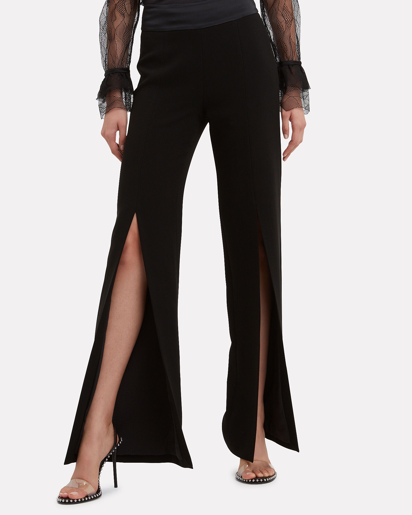 Black Slit Pants, BLACK, hi-res