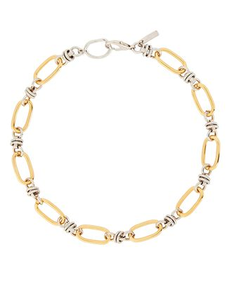 Duplex Two-Tone Chain Necklace, SILVER/GOLD, hi-res