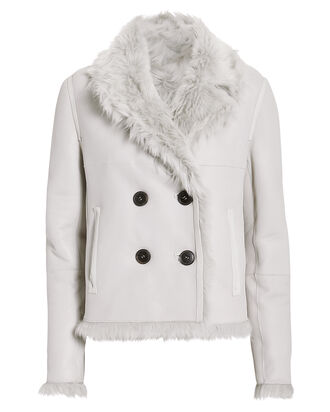 Reversible Double-Breasted Shearling Coat, LIGHT GREY, hi-res