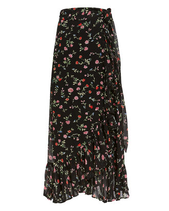 Printed Georgette Black Floral Wrap Skirt, BLACK, hi-res