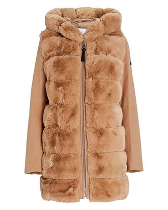 Hooded Faux Fur Puffer Coat, BEIGE, hi-res