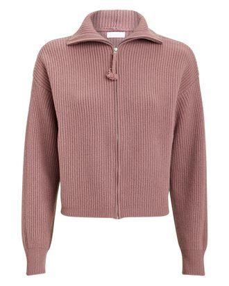 Hayden Cashmere Zip-Up Cardigan, ROSE, hi-res