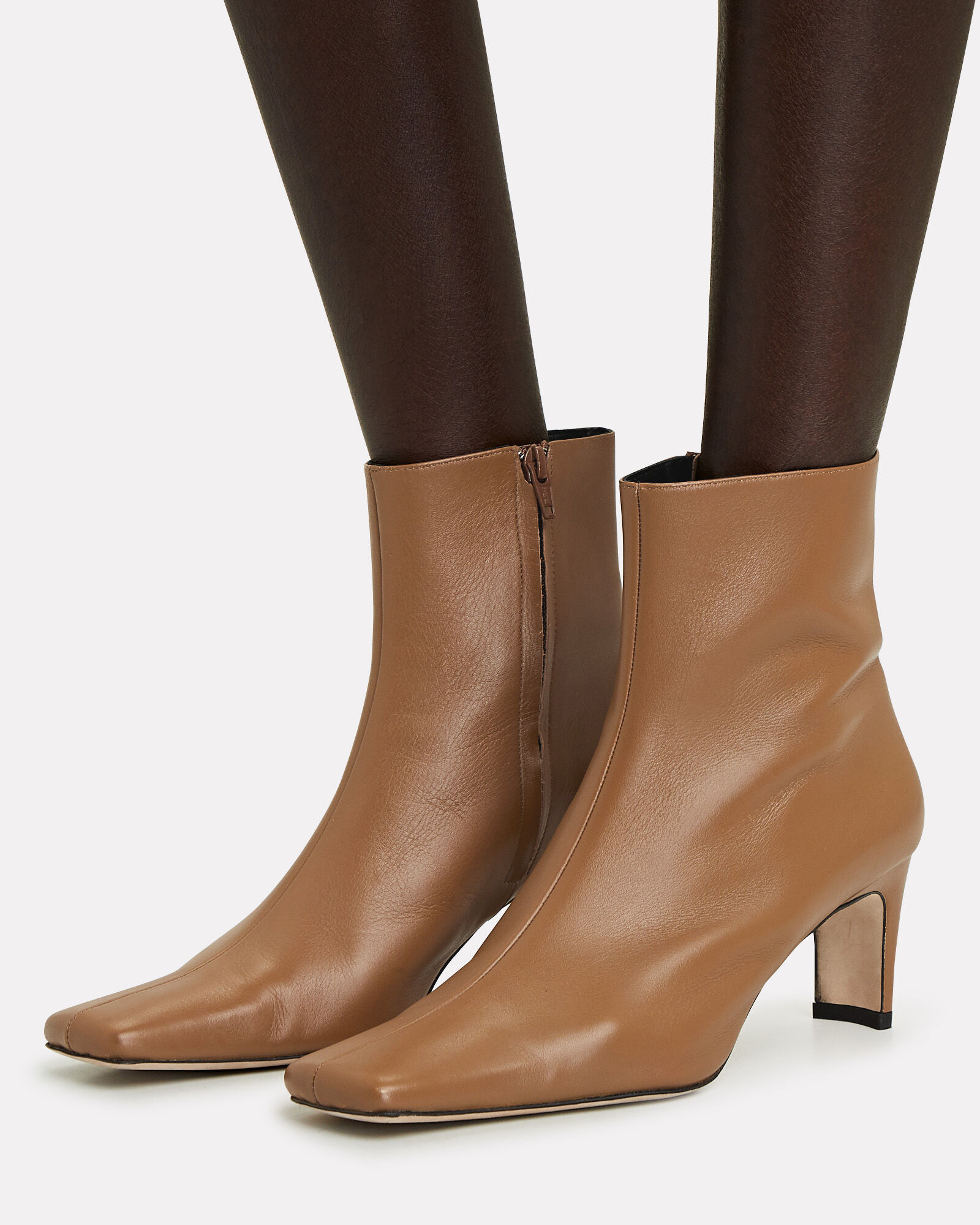 Eva Leather Booties, BROWN, hi-res