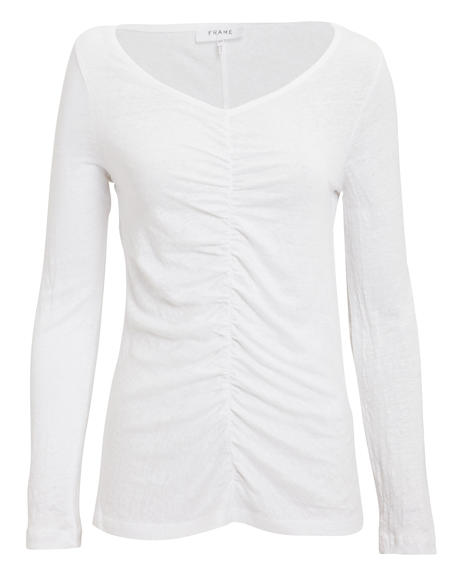 Shirred Long Sleeve Linen T-Shirt, WHITE, hi-res