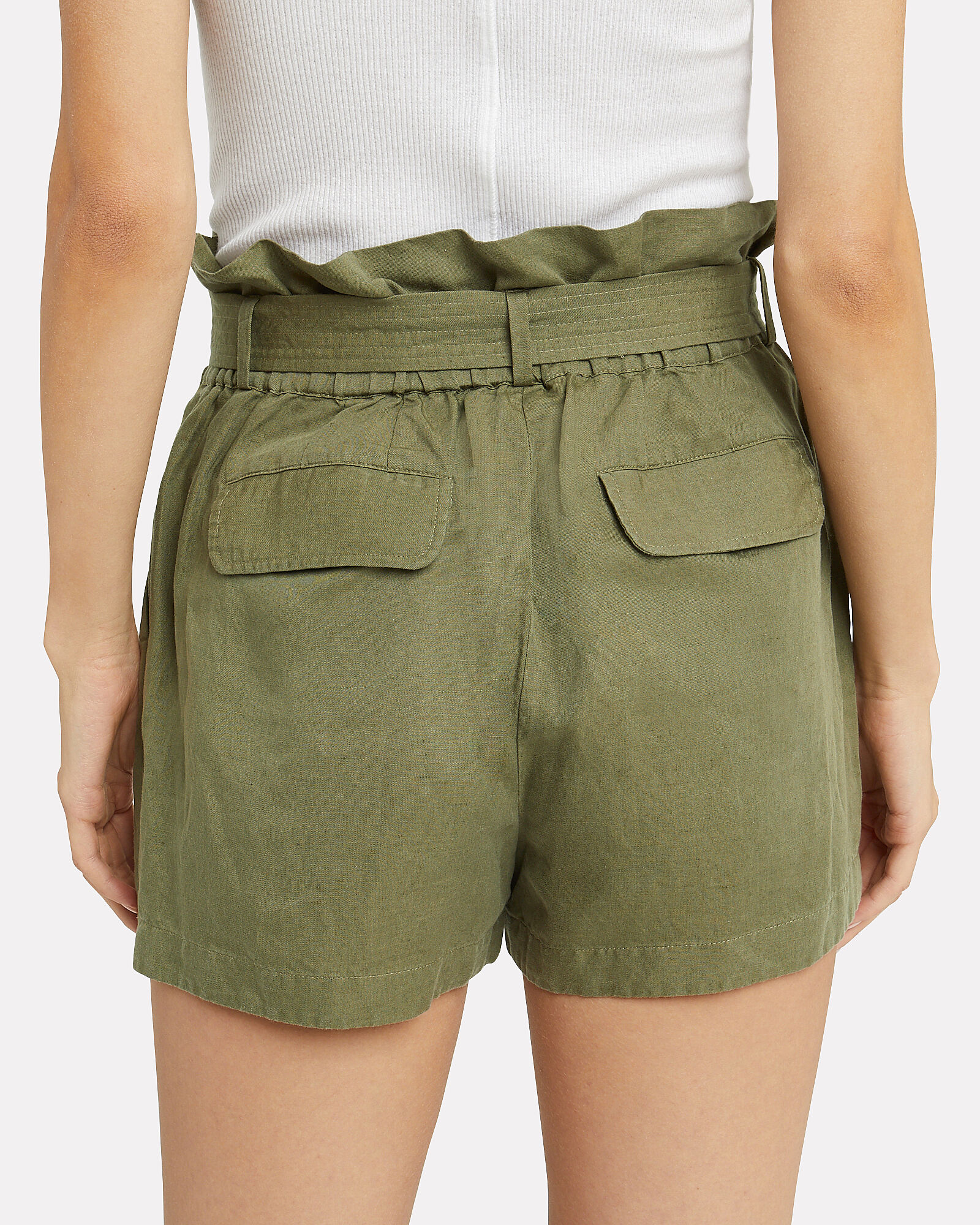Paperbag Army Linen-Blend Shorts, OLIVE/ARMY, hi-res