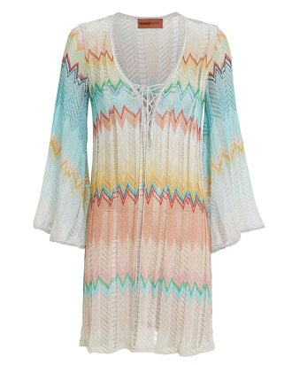 Chevron Short Kaftan Cover-Up, PASTEL CHEVRON, hi-res