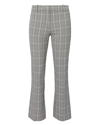 Plaid Cropped Flare Trousers, MULTI, hi-res
