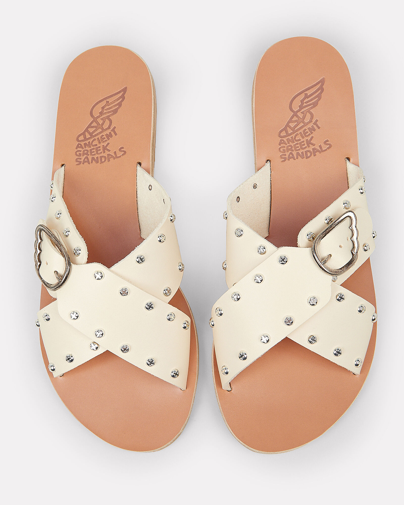 Pella Rivets Cross Buckle Sandals, IVORY, hi-res