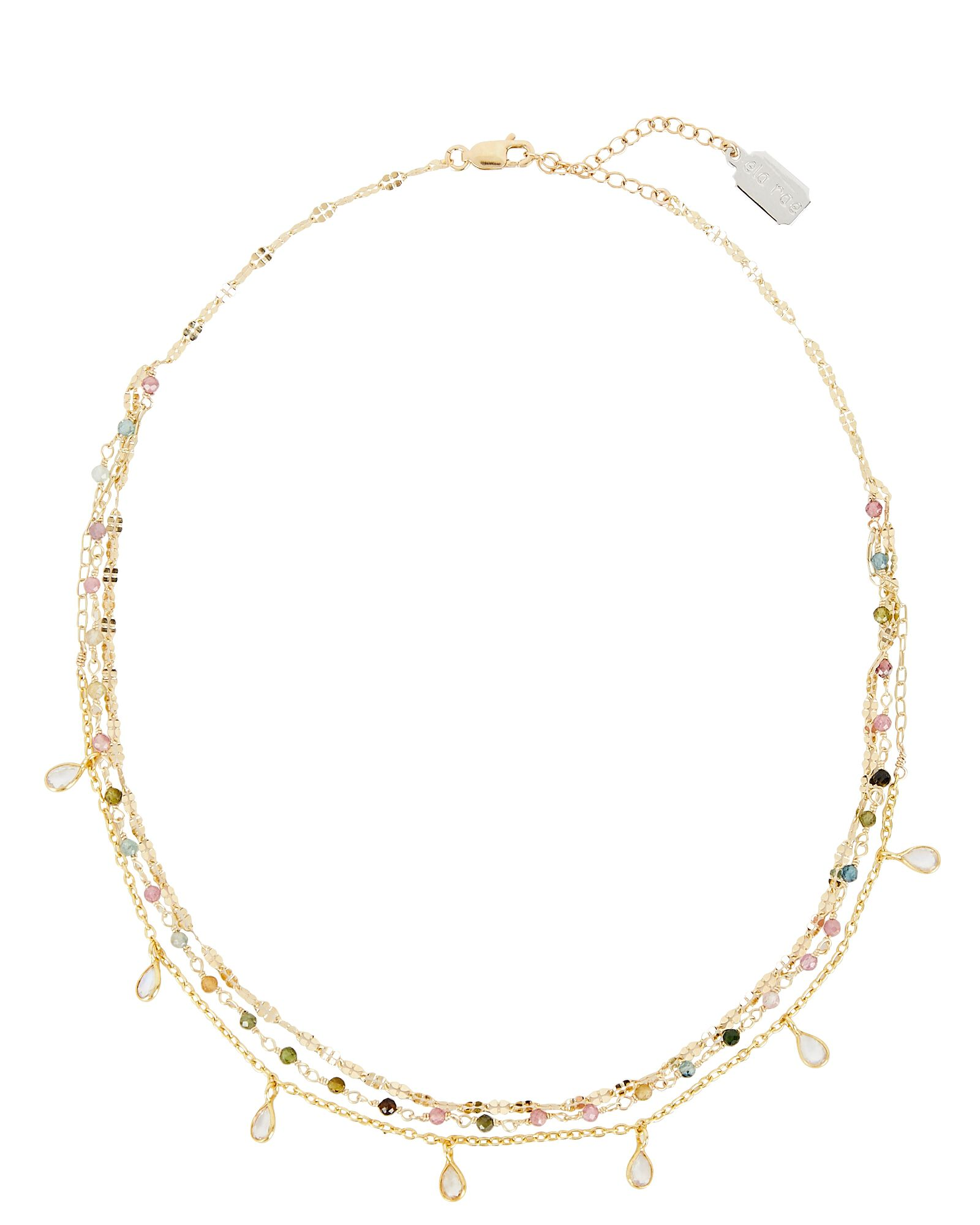 Callie Embellished Three Layer Necklace, GOLD, hi-res