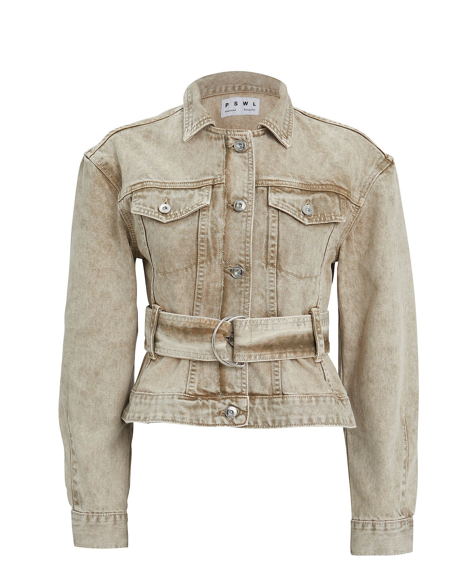 Rigid Denim Belted Jacket, BEIGE, hi-res