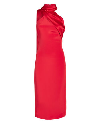 Draped Scarf Pencil Dress, RED, hi-res