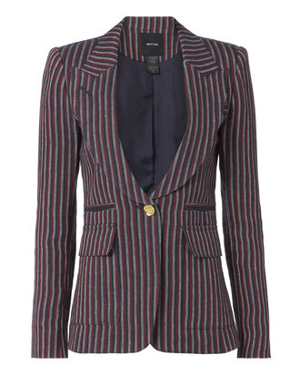 Single Button Striped Linen Blazer, PATTERN, hi-res