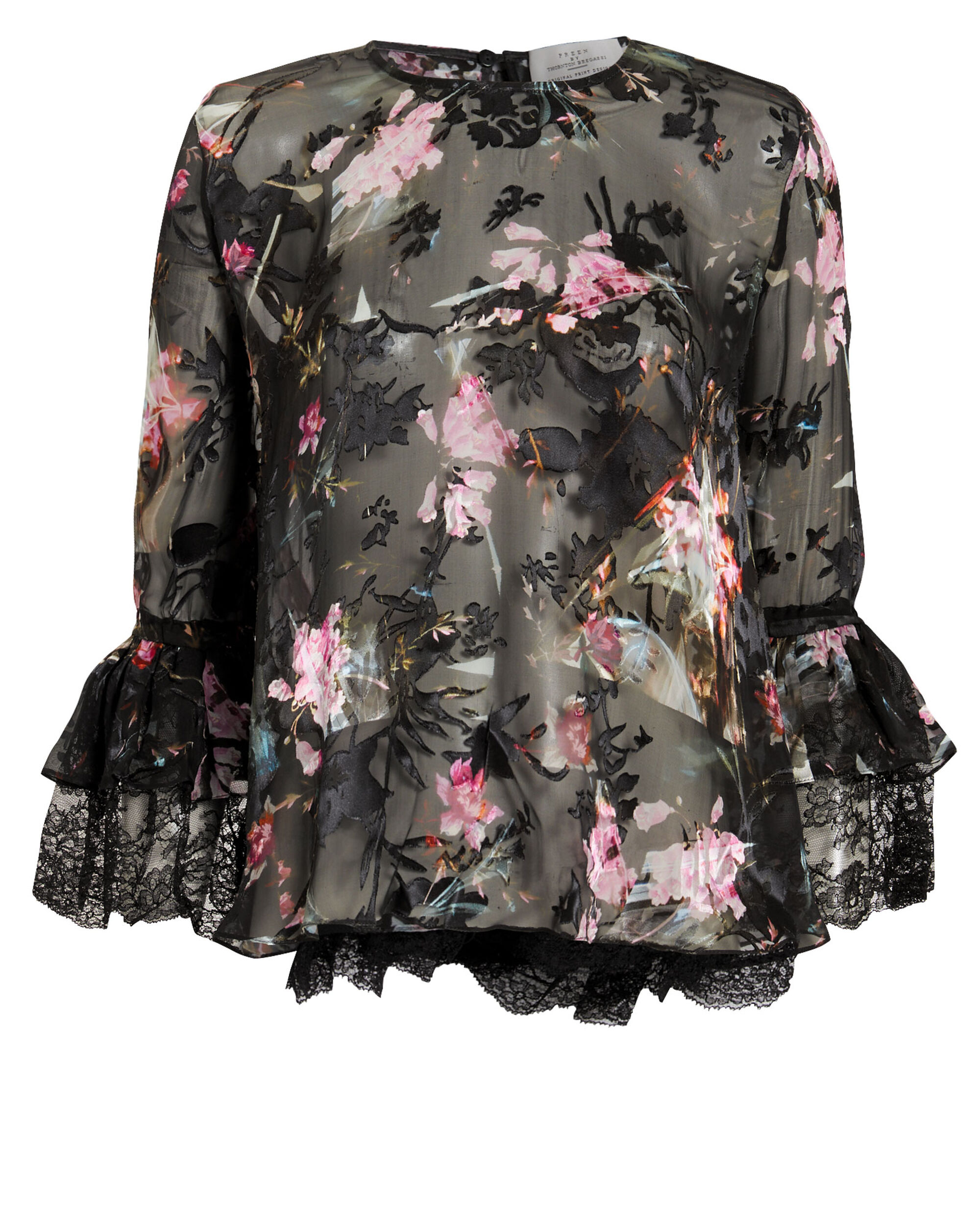 Cecil Floral Devore Top, BLACK, hi-res