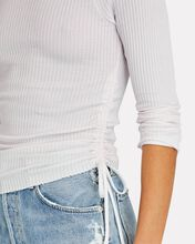 Gathered Thermal Knit Top, WHITE, hi-res