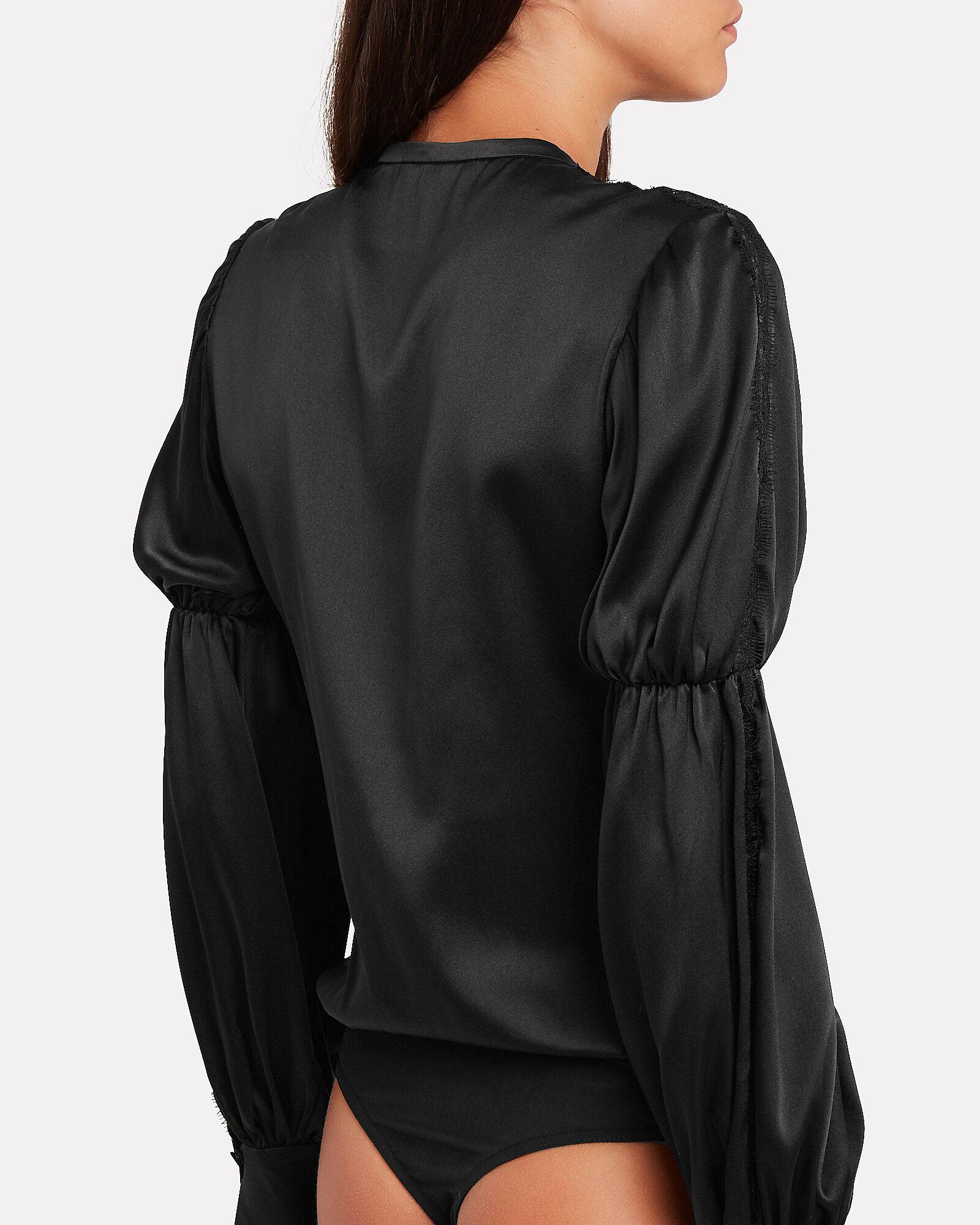 Silk Puff Sleeve Bodysuit, BLACK, hi-res