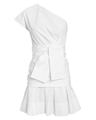 One Shoulder Gathered Poplin Dress, WHITE, hi-res