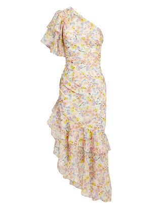 Clayton One Shoulder Floral Dress, WHITE/PINK FLORAL, hi-res
