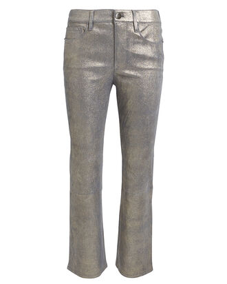 Le Crop Mini Boot Leather Jeans, SILVER, hi-res