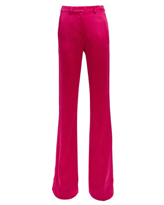 Satin Boot-Leg Flare Pants, FUCHSIA, hi-res