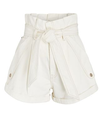 Vintage White Denim Paperbag Shorts, VINTAGE WHITE, hi-res