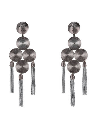 Emb Coiled Tassel Earrings, SILVER, hi-res