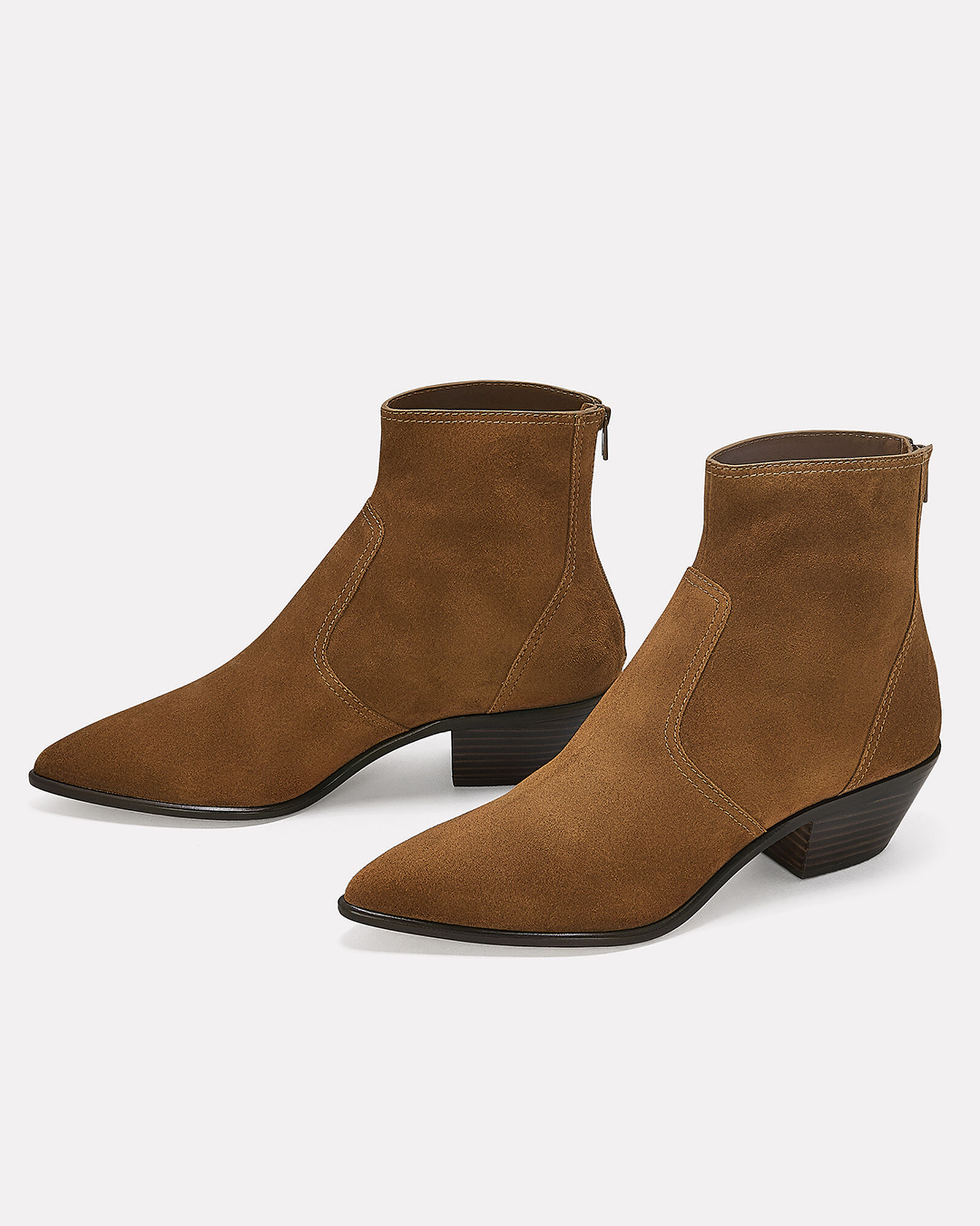 Joni Western Suede Booties, BROWN, hi-res