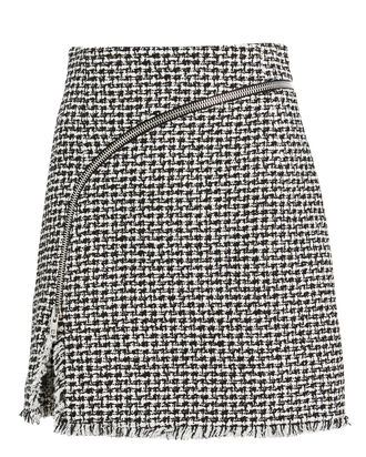 Zip Tweed Mini Skirt, BLACK/WHITE, hi-res