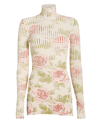 Ribbed Rose Print Turtleneck, IVORY/FLORAL, hi-res