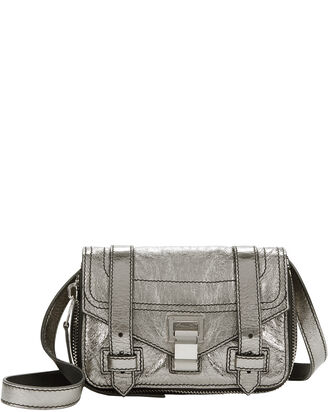 PS1 Mini Zipper Silver Leather Bag, SILVER, hi-res
