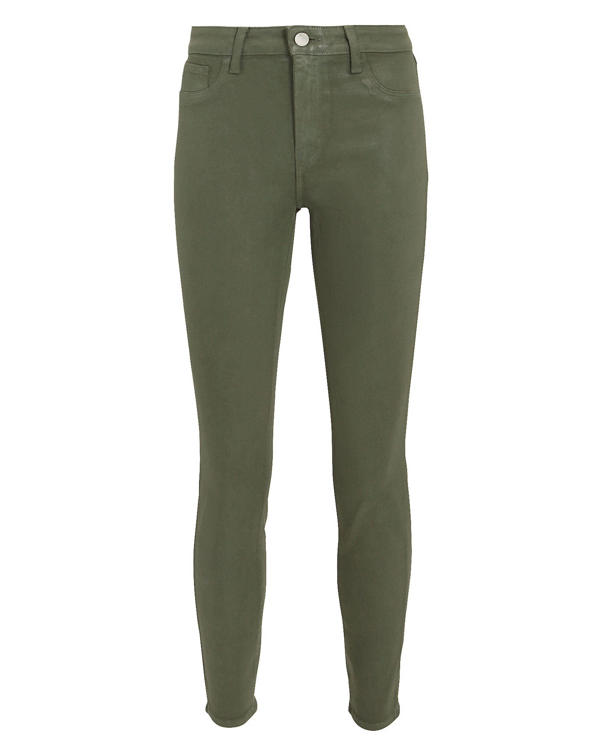 Margot Green Coated High-Rise Ankle Skinny Jeans, GREEN, hi-res
