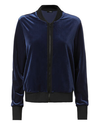 Navy Velvet Bomber Jacket, NAVY, hi-res
