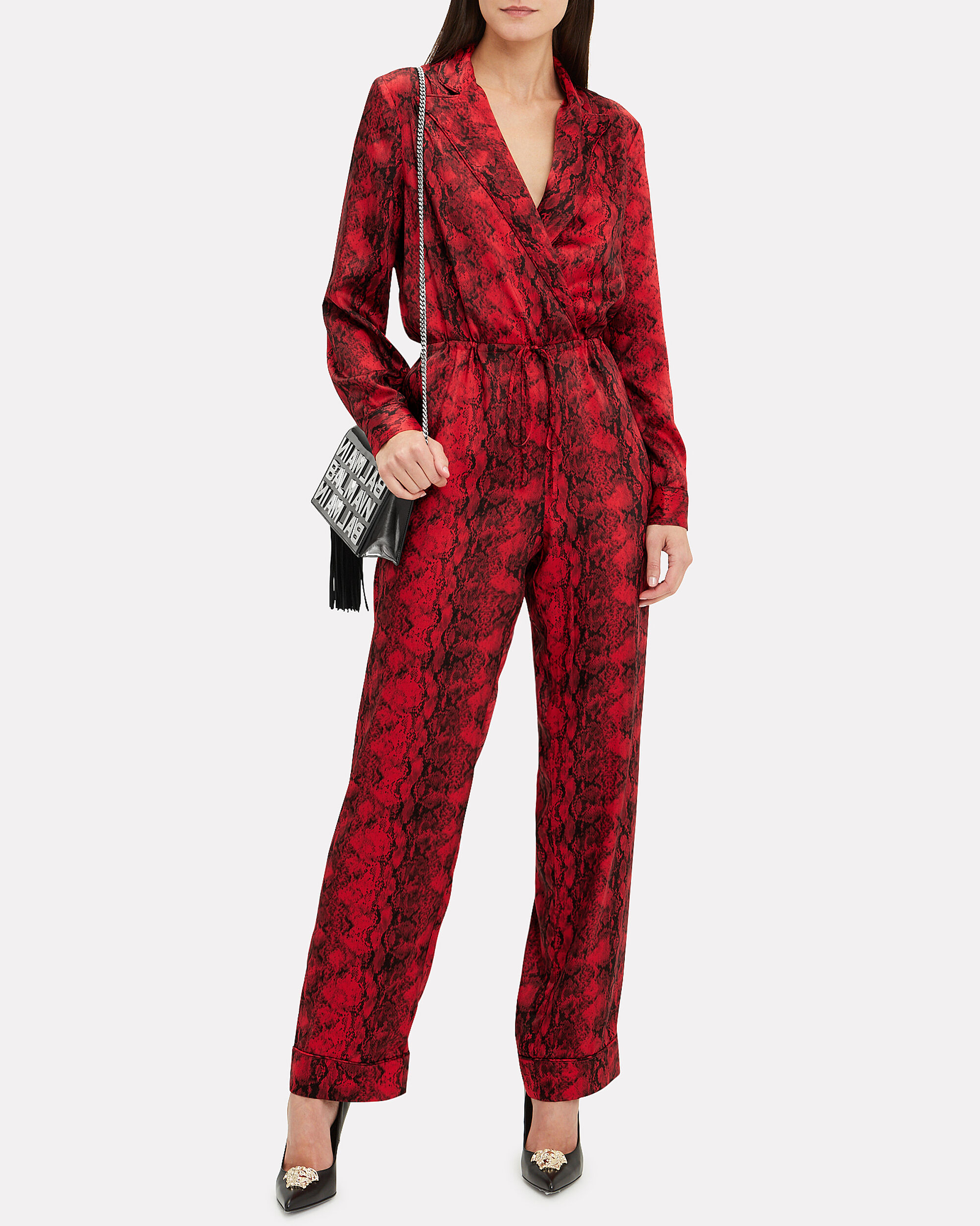 Whitney Snakeskin Jumpsuit, RED/BLACK, hi-res