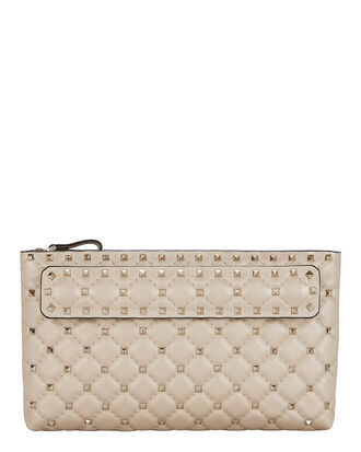 Spike Hand Strap Leather Clutch, BEIGE, hi-res