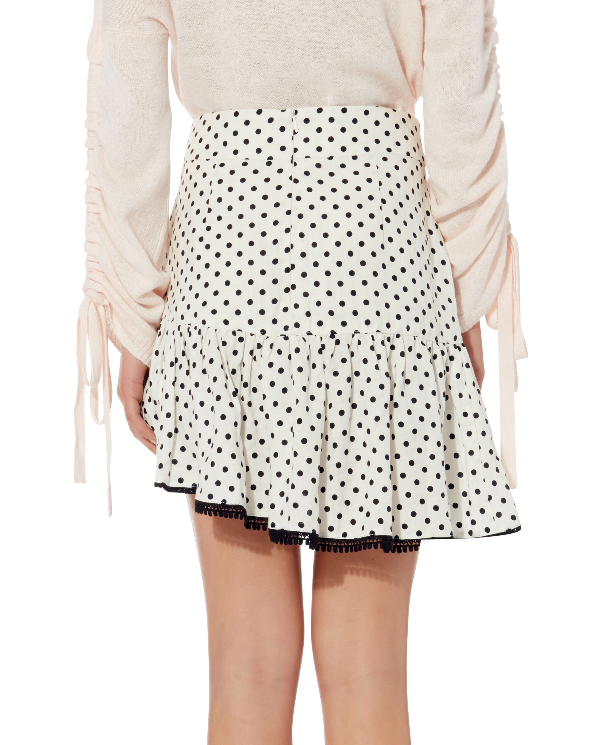 Frill Polka Dot Mini Skirt, BLK/WHT, hi-res
