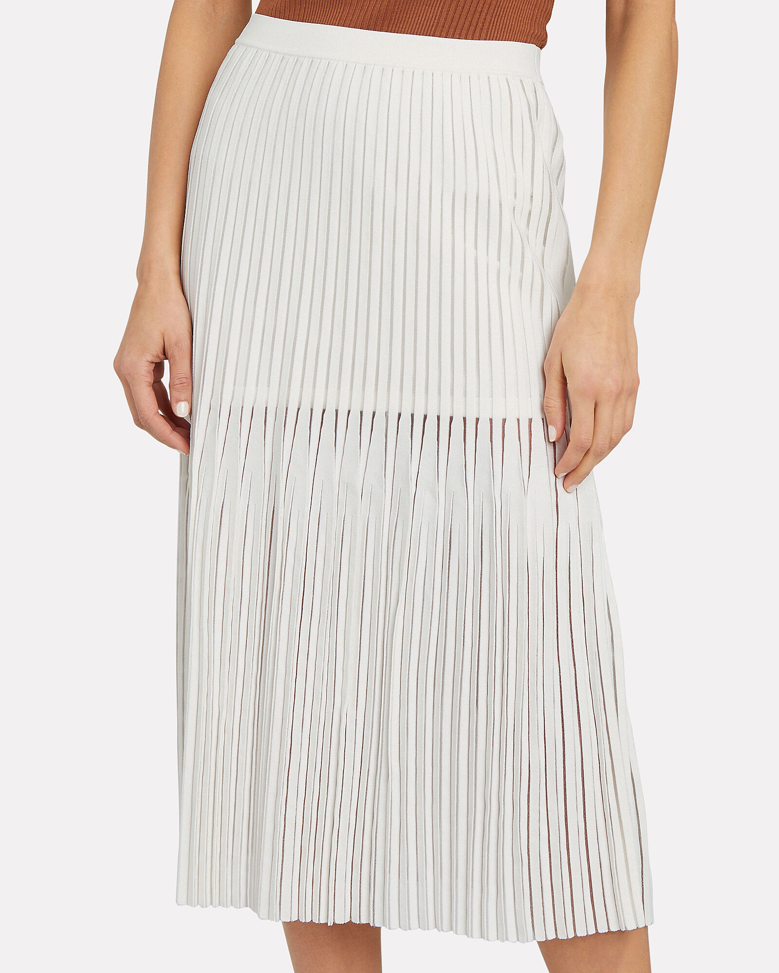 Godet Pleated Knit Midi Skirt, IVORY, hi-res