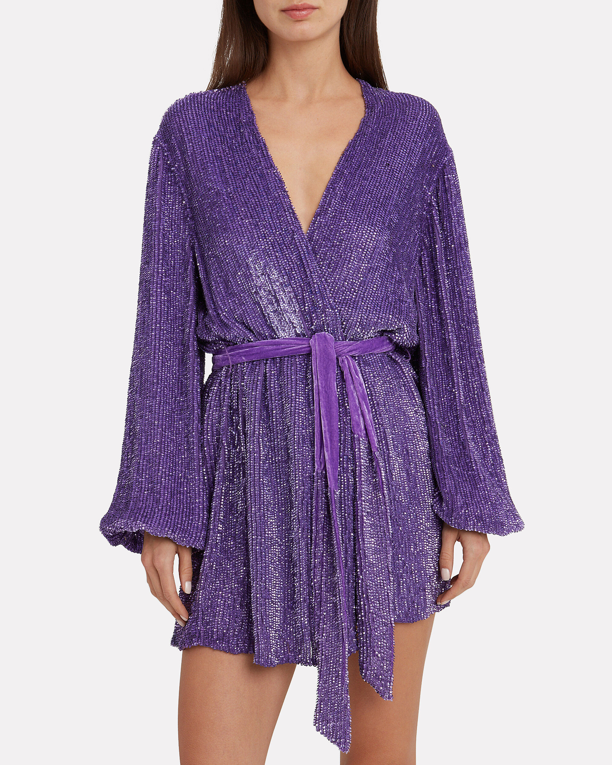 Gabrielle Purple Sequin Mini Dress, PURPLE, hi-res