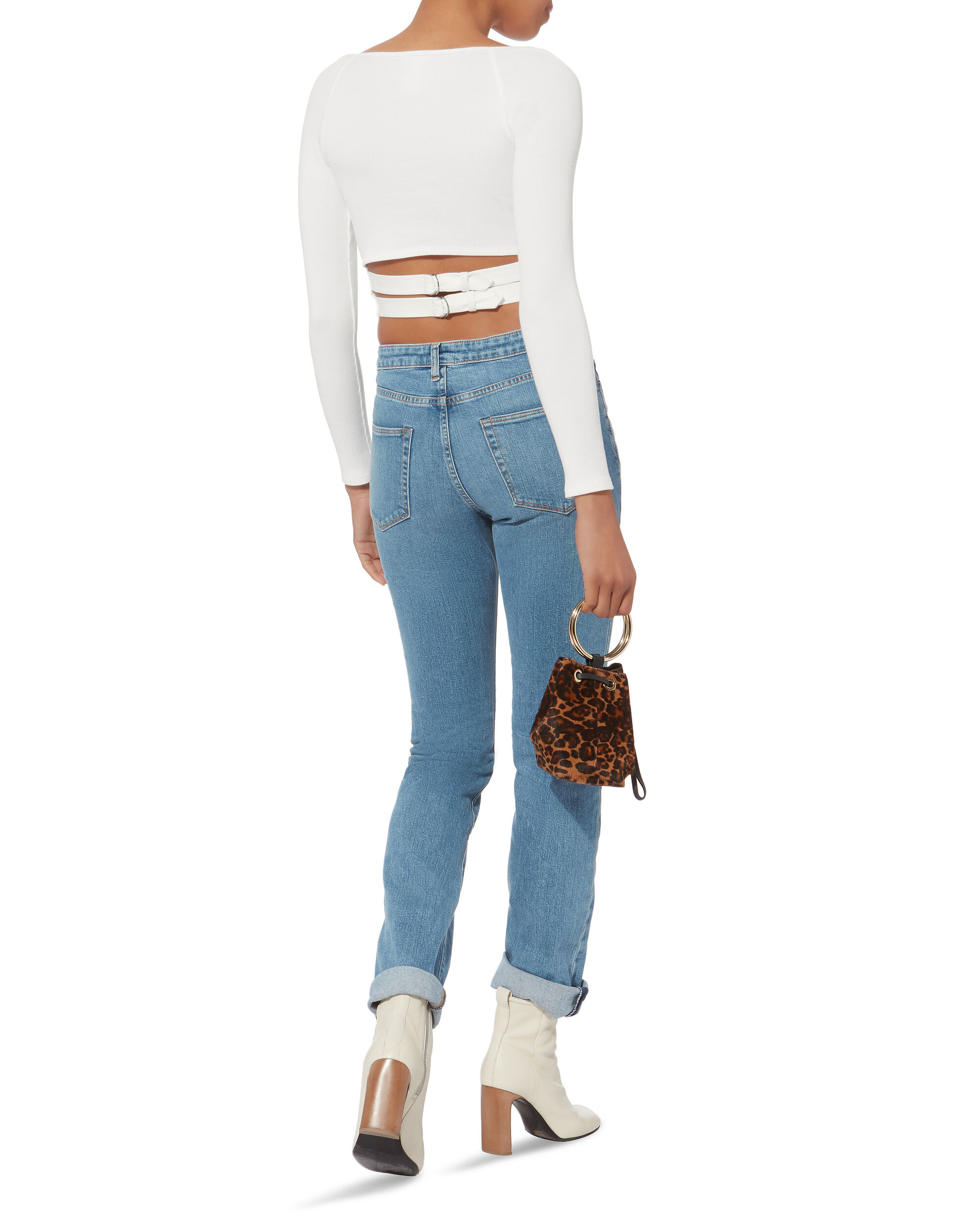 Buckle Back Knit Top, WHITE, hi-res