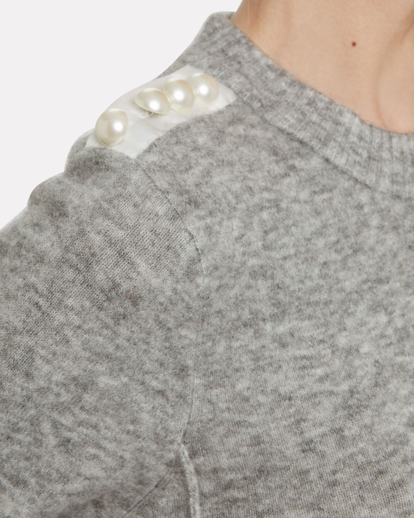 Lofty Pearl Embellished Sweater, GREY, hi-res