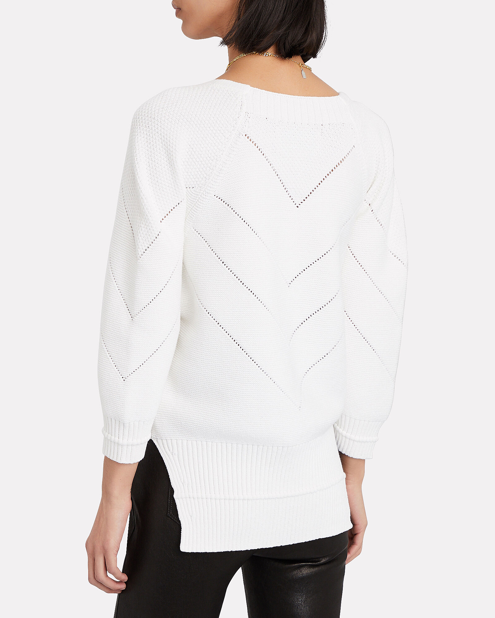 Decker V-Neck Cotton-Blend Sweater, WHITE, hi-res