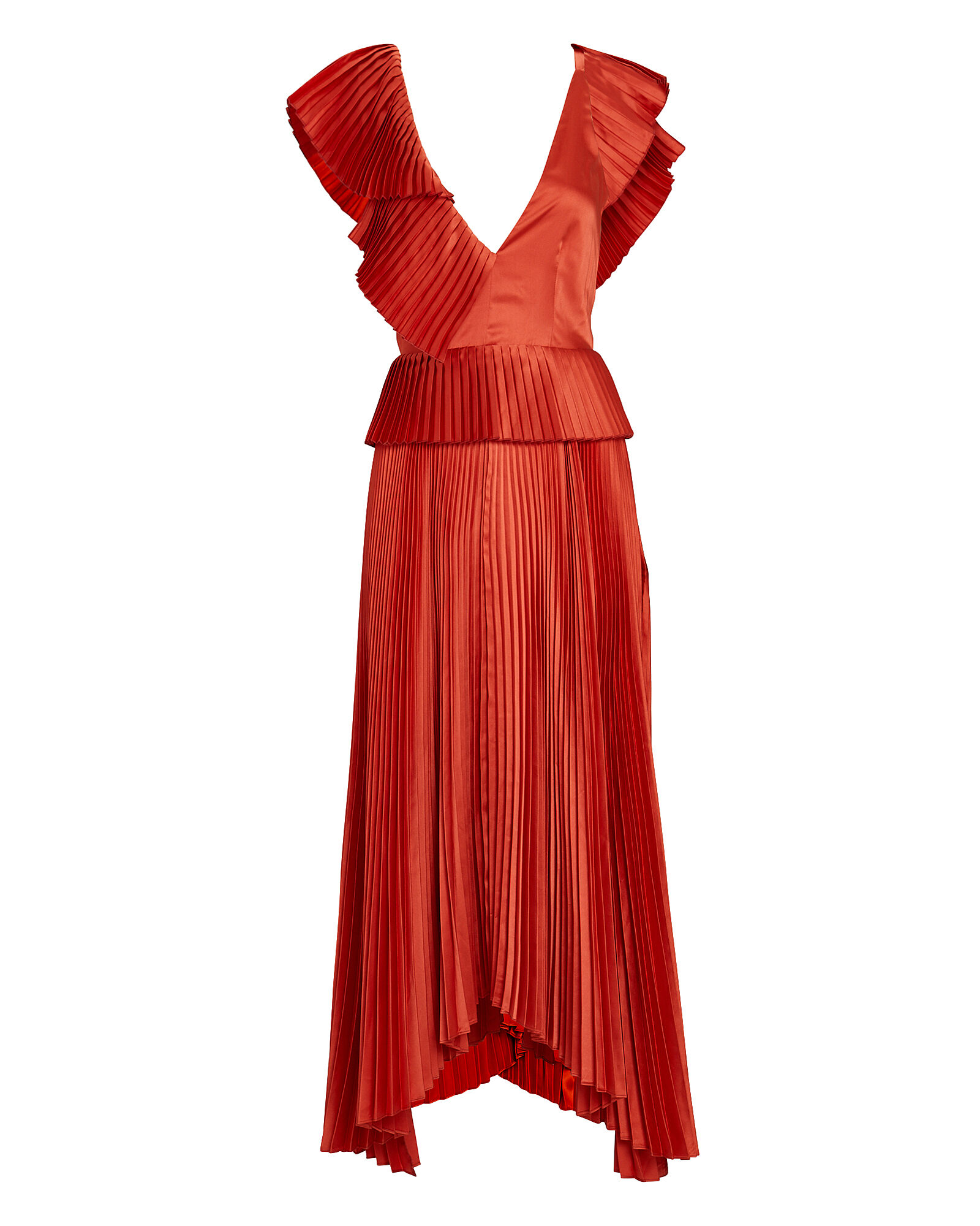 Liliana Pleated Flutter Midi Dress, RED, hi-res