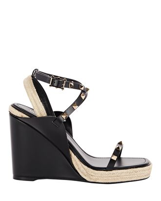 Rockstud Espadrille Wedge Sandals, BLACK/BEIGE, hi-res