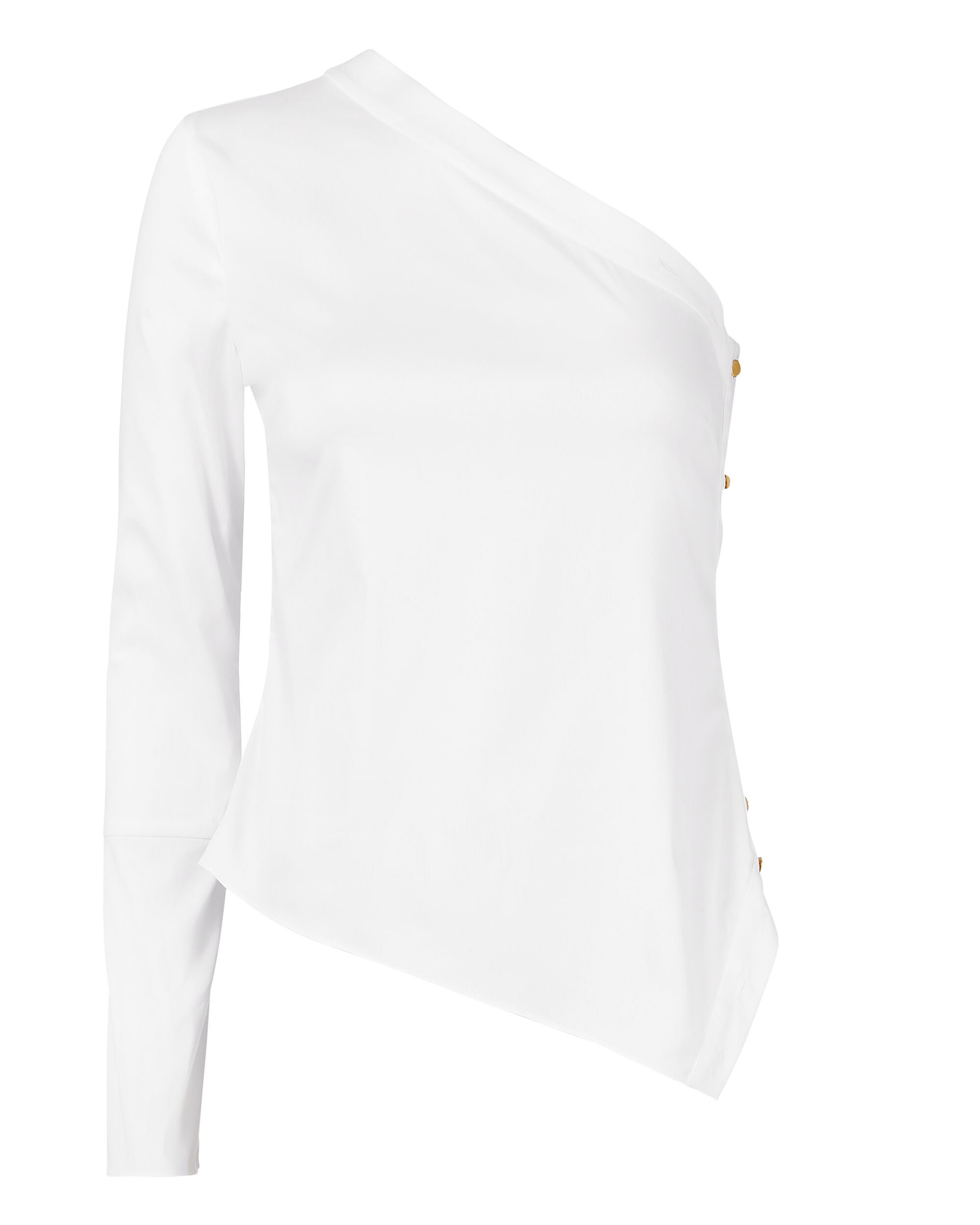 White One Shoulder Button Blouse, WHITE, hi-res