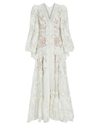 Suffield Lace-Trimmed Maxi Dress, IVORY, hi-res