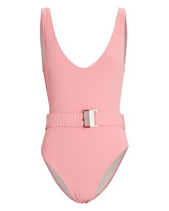 Michelle Belted One-Piece Swimsuit, PINK, hi-res