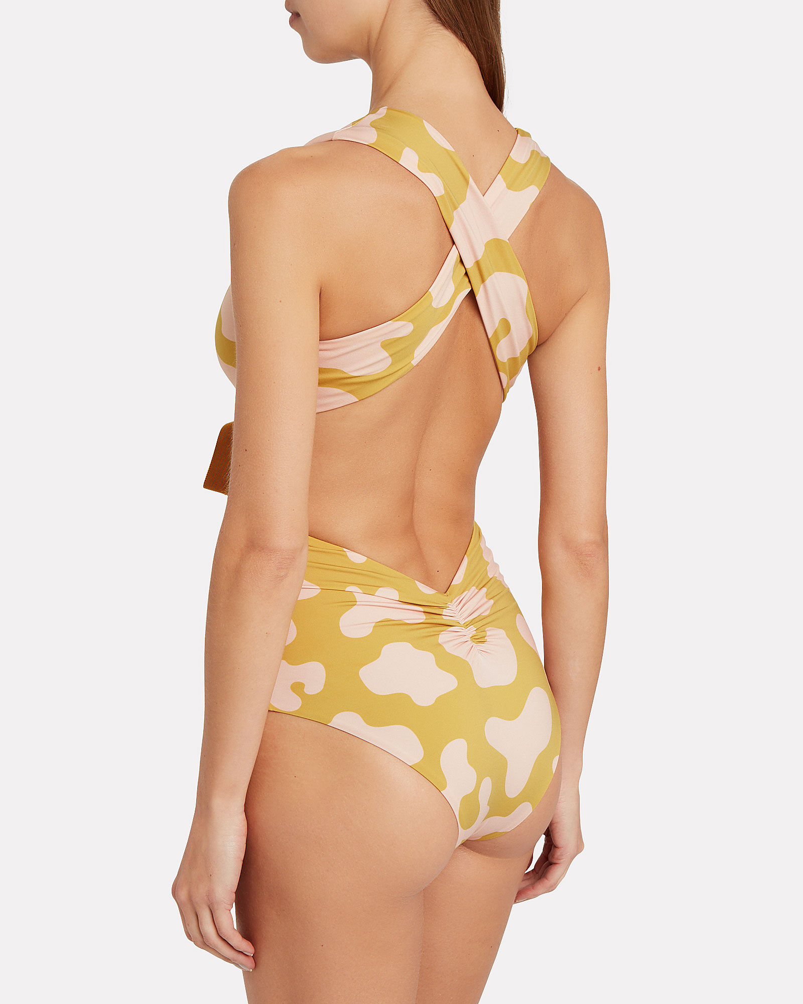 Garland Tie Front One-Piece Swimsuit, MULTI, hi-res
