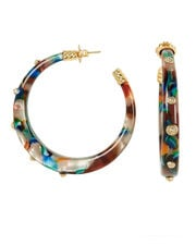 Rainbow Kaftan Hoops, GOLD/RAINBOW, hi-res