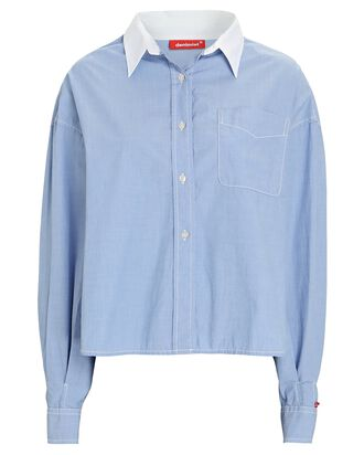 Mayfield Cropped Button-Down Shirt, LIGHT BLUE, hi-res