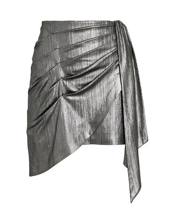 Luna Draped Lamé Mini Skirt, SILVER, hi-res