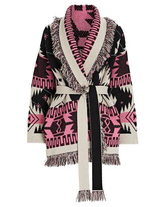 Cosmic Icon Fringed Wrap Cardigan, PINK/BLACK/WHITE, hi-res